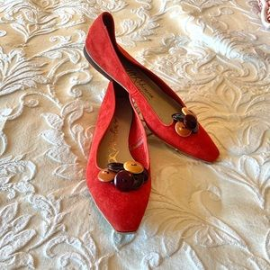 Vintage 1960s Piccolino red orange button shoes